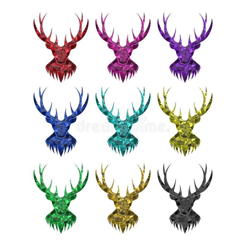La tête de cerfs communs avec des klaxons sur le fond blanc Image d'isolement de la forme géométrique Options de couleur illustration libre de droits