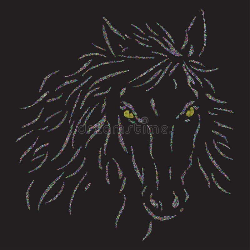 La Tête De Chevaux Sur Un Fond Noir Illustration De Vecteur
