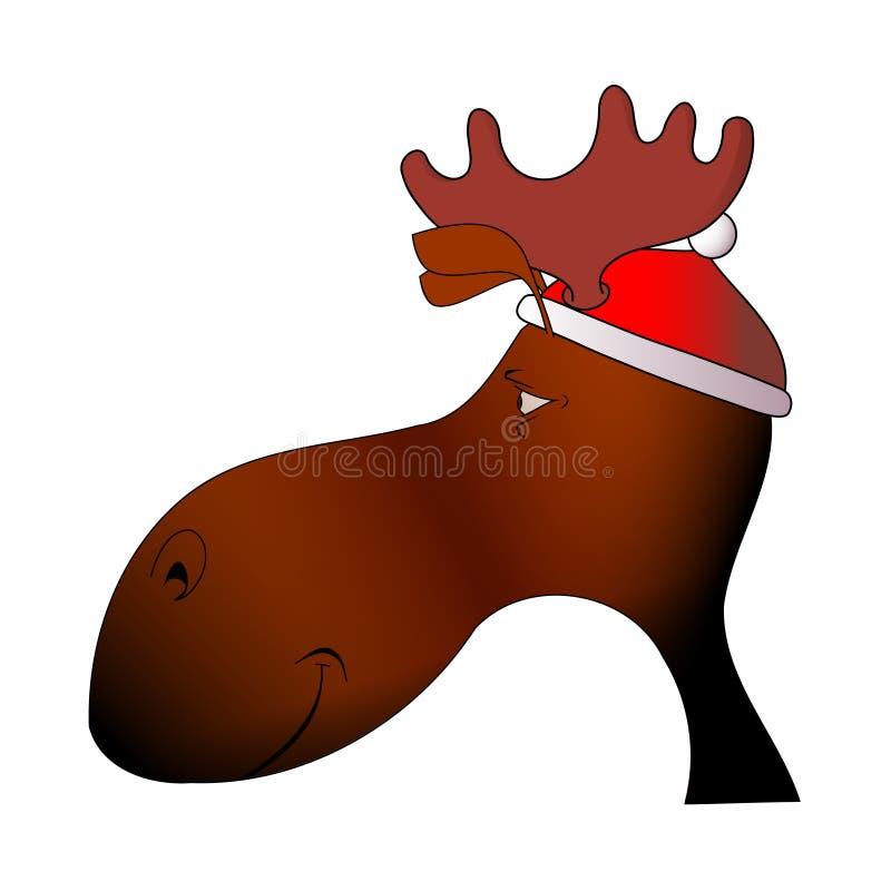 La tête de l'élan dans le capuchon de Noël image libre de droits