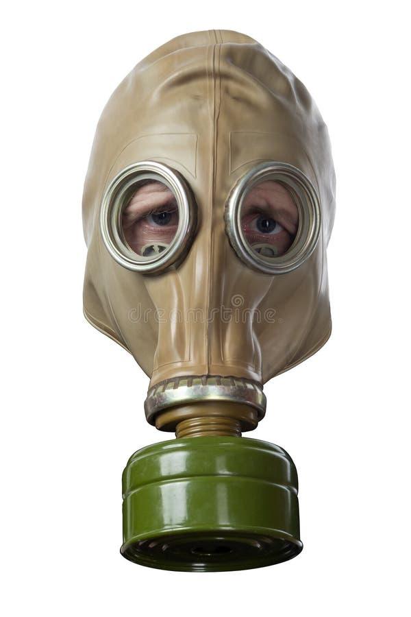 La tête de l'homme dans le masque de gaz GP-5 image stock