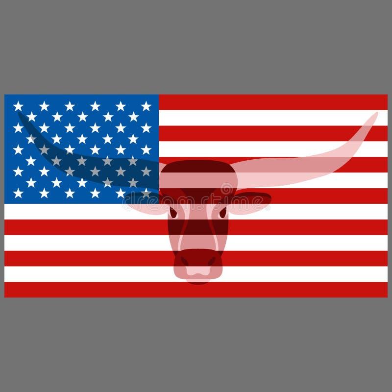 La tête de Taureau sur les Etats-Unis marquent le style plat d'illustration de vecteur illustration stock