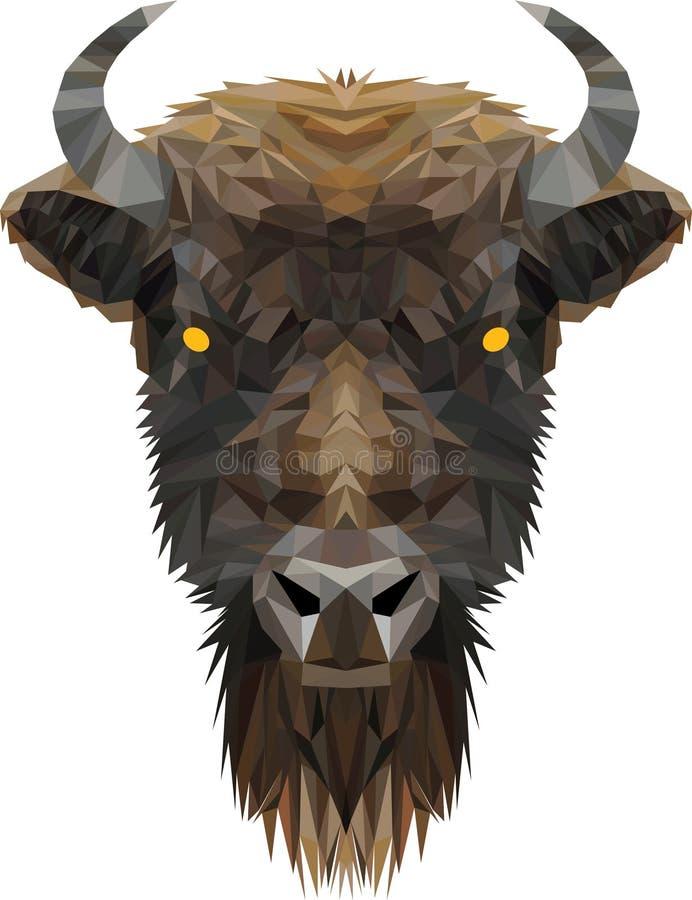 La tête du bas poly bison illustration libre de droits