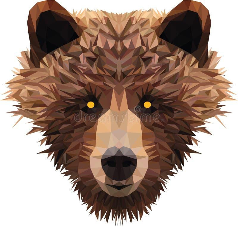 La tête du bas poly ours photo stock