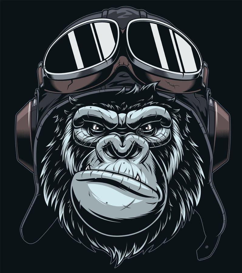 La tête du gorille dans le chapeau du pilote illustration stock