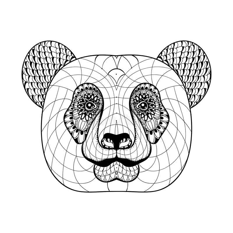 La tête du panda modelé par ornamental artistiquement ethnique tiré par la main illustration de vecteur