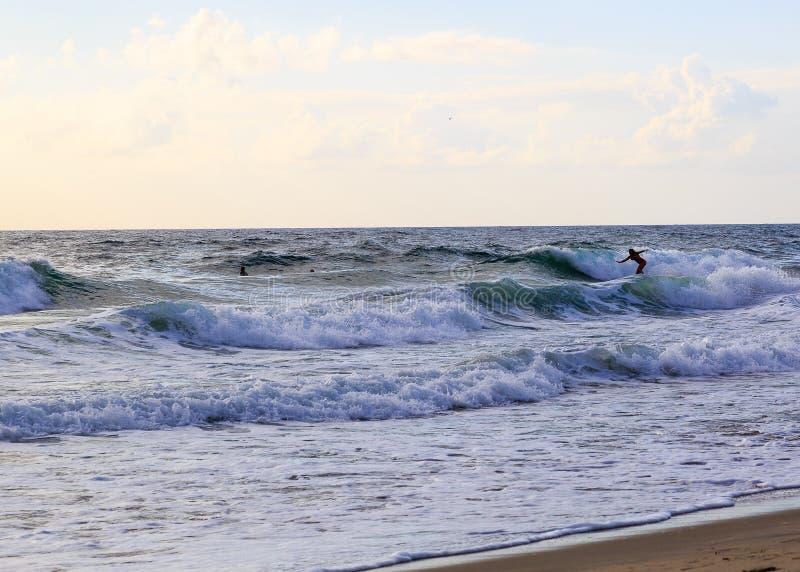La tête OR Etats-Unis du petit cheval - août 2016 La plage principale du petit cheval pendant le matin avec des surfers photographie stock