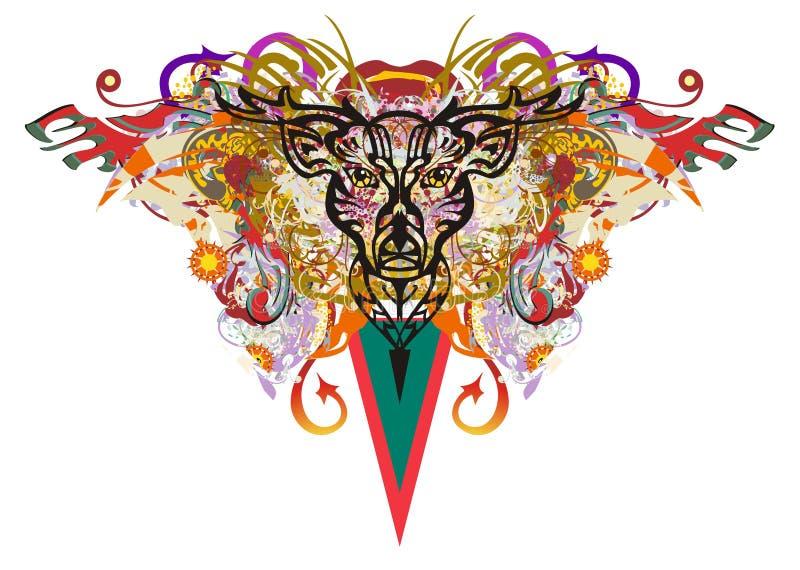 La tête grunge de cerfs communs colorée éclabousse illustration libre de droits