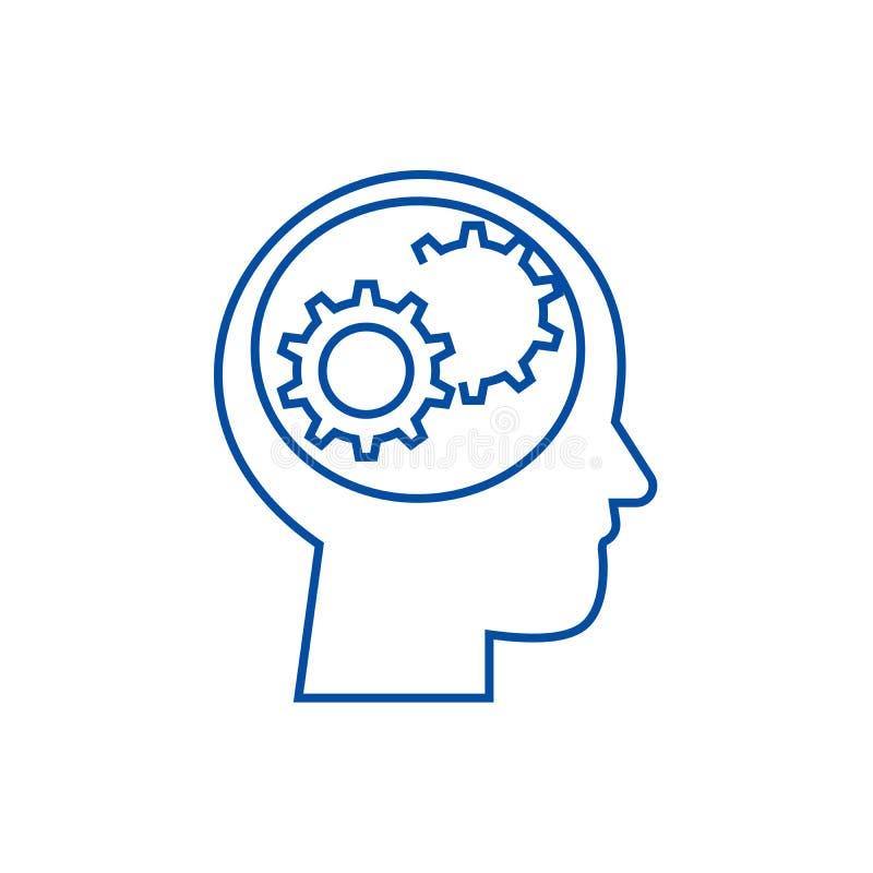 La tête humaine avec des vitesses rayent le concept d'icône Tête humaine avec le symbole plat de vecteur de vitesses, signe, illu illustration libre de droits