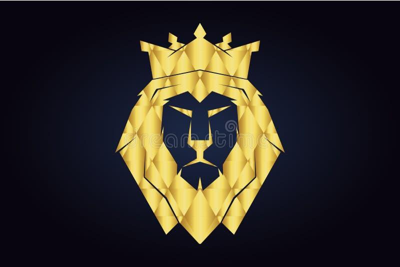La t?te polygonale du lion avec la couronne d'or Le Roi Lion illustration libre de droits