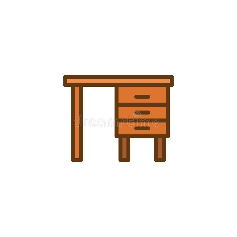 La Tabella con i cassetti ha riempito l'icona del profilo illustrazione vettoriale