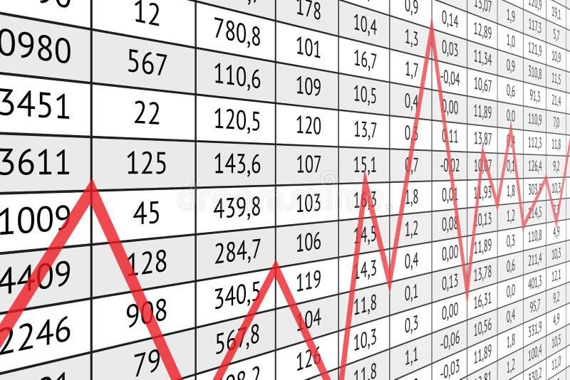 La Tabella con i dati numerici ed il grafico rosso allineano royalty illustrazione gratis
