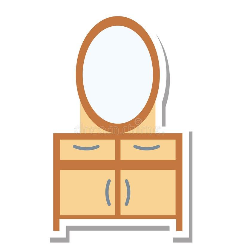 La Tabella di vanità ha isolato lo speciale editabile dell'icona di vettore per i progetti della stazione termale e di bellezza, royalty illustrazione gratis