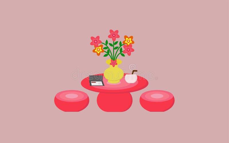 La Tabella e le sedie includono i bei vasi e fiori royalty illustrazione gratis