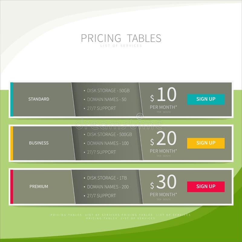 La tabla de la comparación de la tasación fijó para el servicio web del negocio comercial stock de ilustración