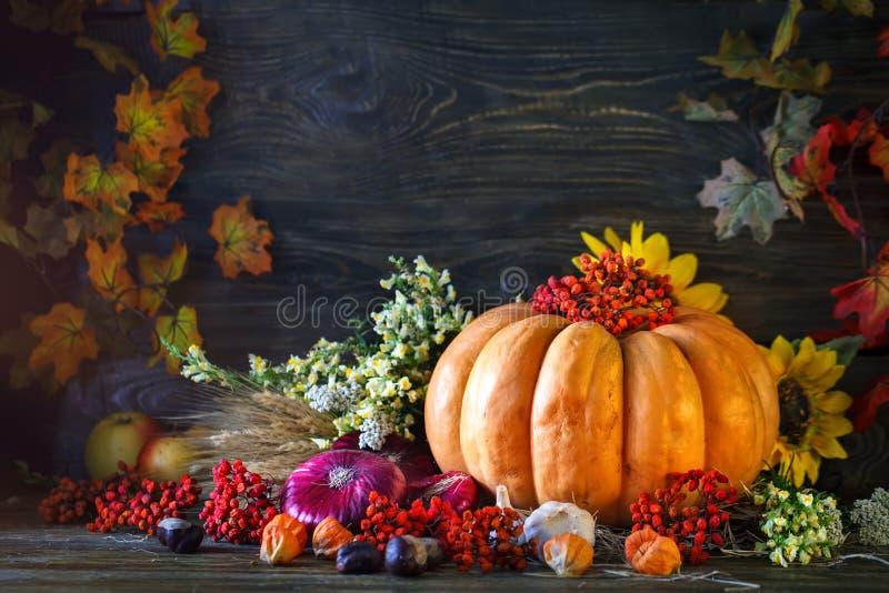 La tabla de madera adornada con las verduras, las calabazas y las hojas de otoño Fondo del otoño Schastlivy von Thanksgiving imagen de archivo libre de regalías
