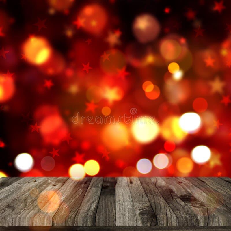 la tabla de madera 3D en bokeh de la Navidad enciende el fondo libre illustration