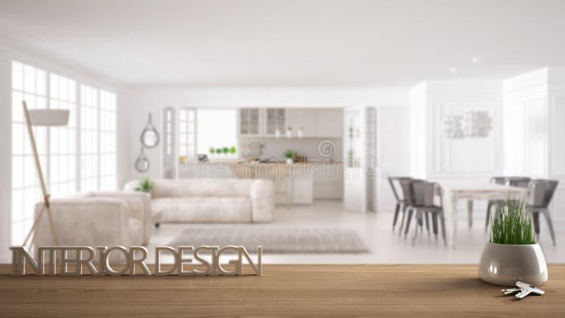La tabla de madera, el escritorio o el estante con la planta en conserva de la hierba, las llaves de la casa y 3D pone letras a h fotografía de archivo libre de regalías