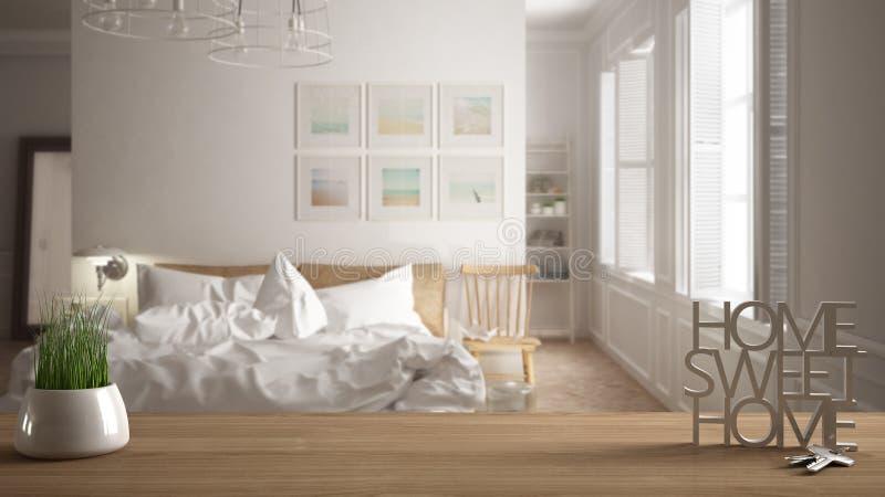La tabla de madera, el escritorio o el estante con la planta en conserva de la hierba, las llaves de la casa y 3D pone letras a h libre illustration