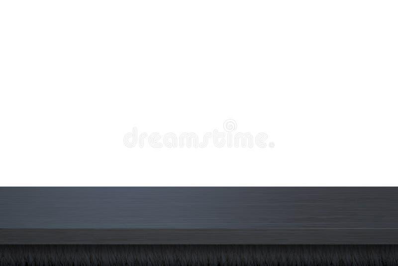 La tabla de madera oscura superior vacía aislada en el fondo blanco utilizó para la exhibición o el montaje sus productos ilustración del vector