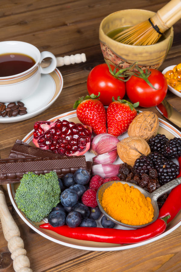 Almuerzo con los antioxidantes imagenes de archivo