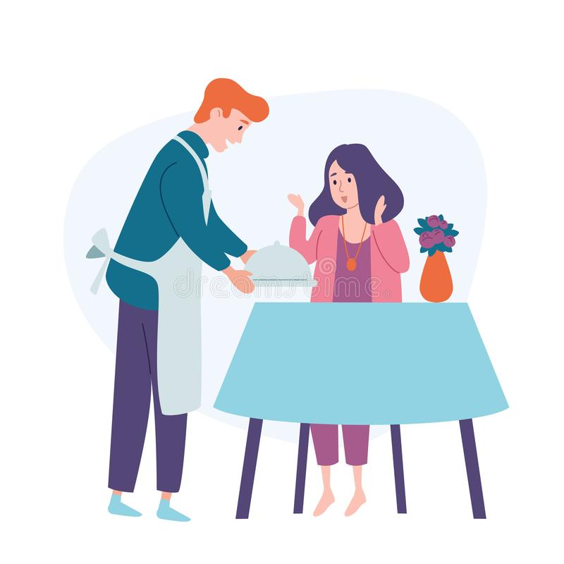 La tabla del servicio del hombre, trae la comida a su mujer de alimentación del marido de la esposa Cena festiva del día de fiest stock de ilustración