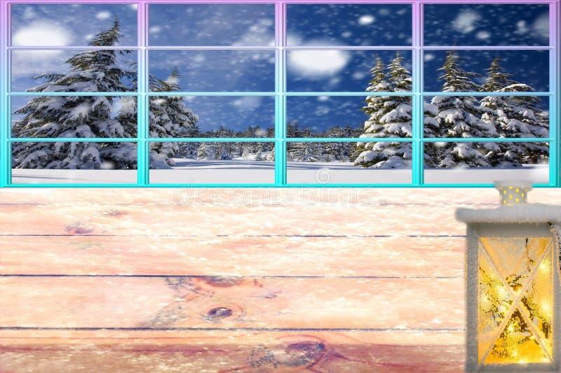 La table d'hiver congelée par Noël avec la lanterne et le cadre fonctionnent le fond de chute de neige de forêt de fenêtre photo libre de droits