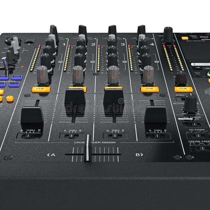 La table de contrôle de paramètre, mélangeur du DJ, a bourdonné vue illustration de vecteur