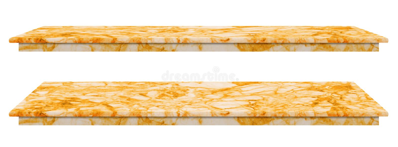 La table de marbre, surface d'or de plan de travail, la dalle en pierre pour des produits d'affichage d'isolement sur le fond bla photos libres de droits