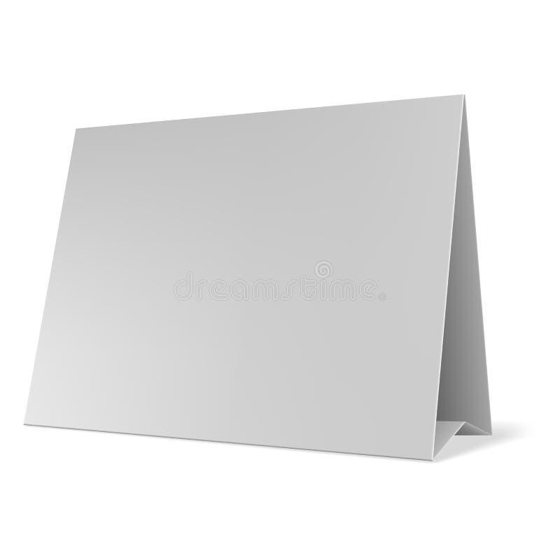 La table de papier blanc carde le vecteur Tente de Tableau vide d'isolement sur le fond gris illustration stock