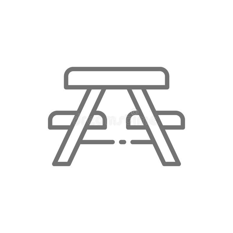 La table de pique-nique avec des bancs rayent l'icône illustration stock