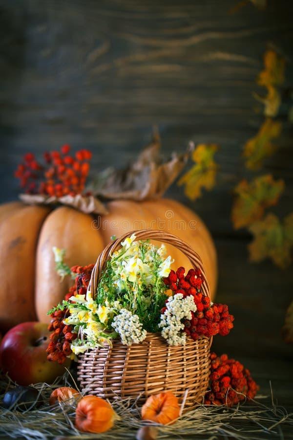 La table en bois a décoré sauvage avec des fleurs par des potirons et des feuilles d'automne Fond d'automne Jour heureux d'action photo libre de droits