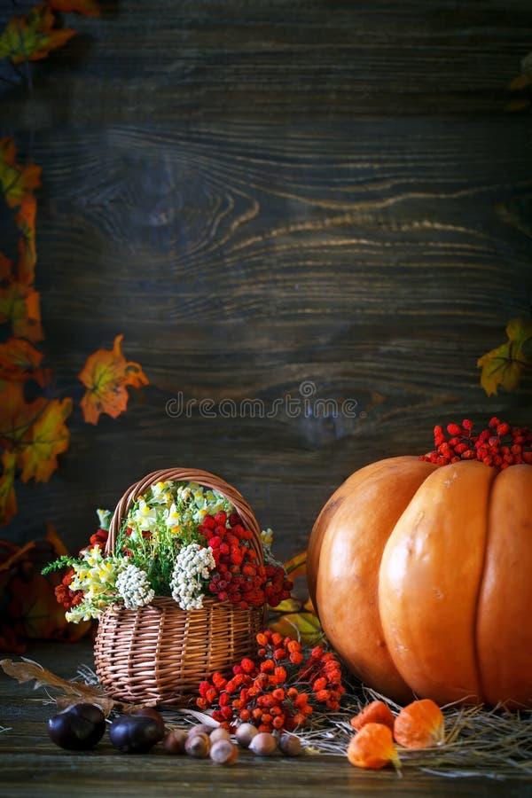 La table en bois a décoré sauvage avec des fleurs par des potirons et des feuilles d'automne Fond d'automne Jour heureux d'action photographie stock libre de droits
