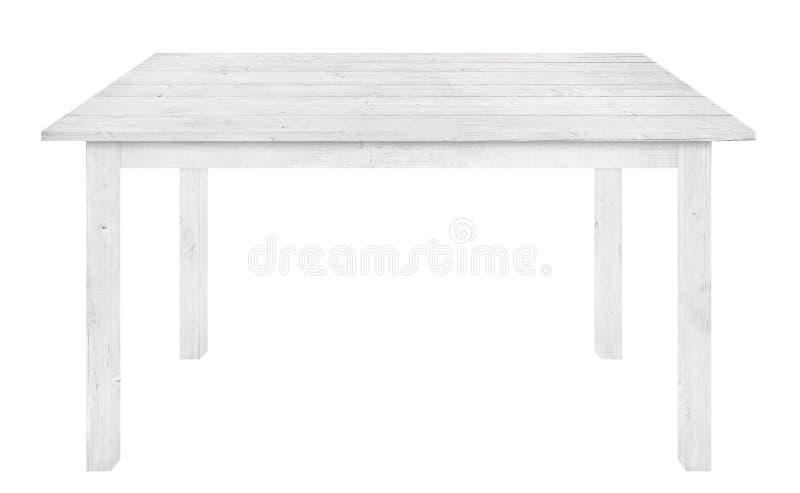 La table en bois grise est fond blanc d'isolement photos libres de droits