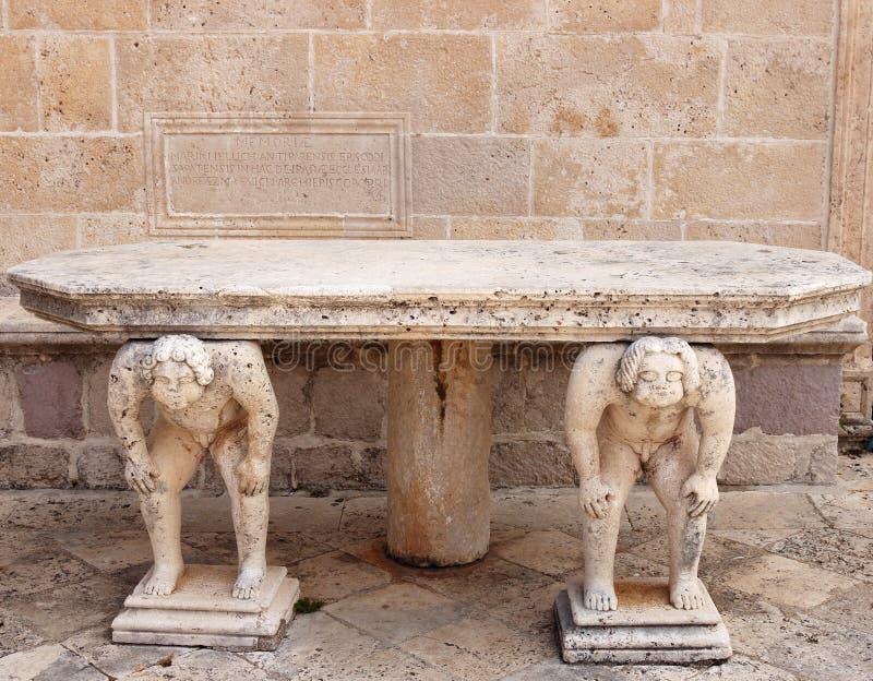 La table en pierre avec des titans sculpte notre Madame des roches Perast image stock