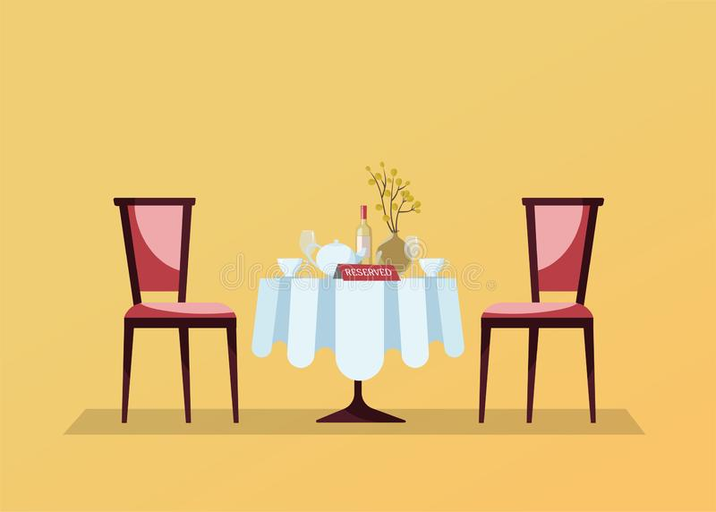 La table ronde de restaurant réservé avec la nappe blanche, verres à vin, bouteille de vin, pot, coupes, dessus de table de réser illustration stock