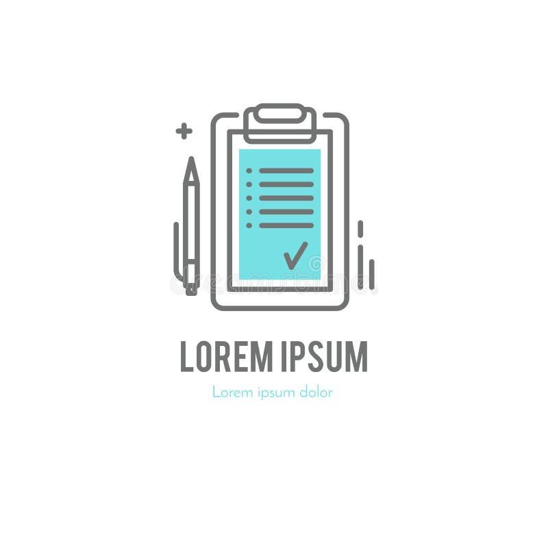 La tableta con la línea logotipo de la lista libre illustration