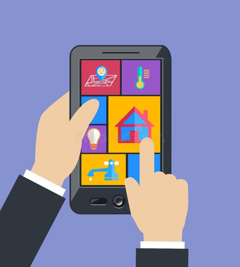 La tableta de la tenencia de la mano controla utilidades caseras elegantes stock de ilustración