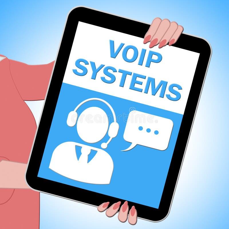 La tableta de los sistemas de Voip muestra el ejemplo de la voz 3d de Internet libre illustration
