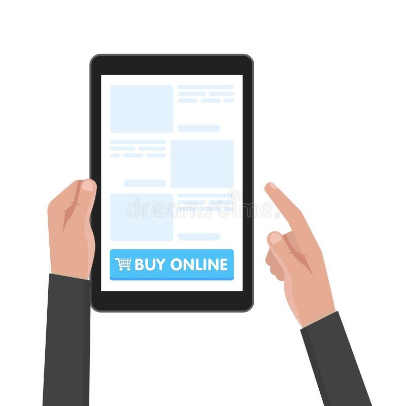 La tableta del control de la mano del hombre con la compra de la plantilla del sitio web abotona Ilustración del vector ilustración del vector