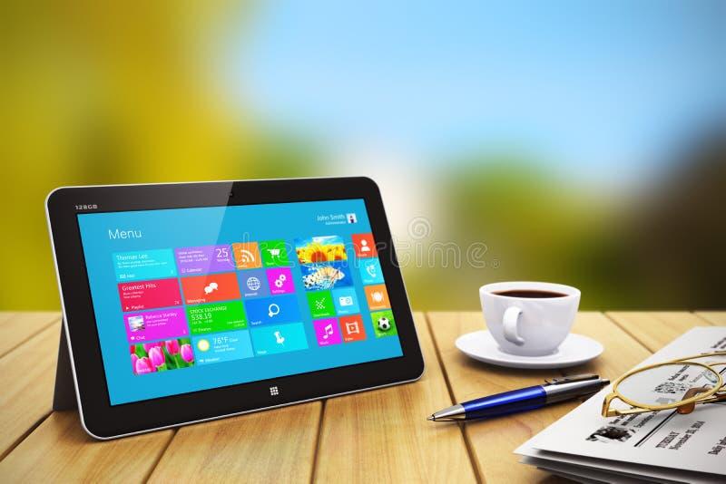 La tablette avec des affaires objecte sur la table en bois dehors illustration de vecteur