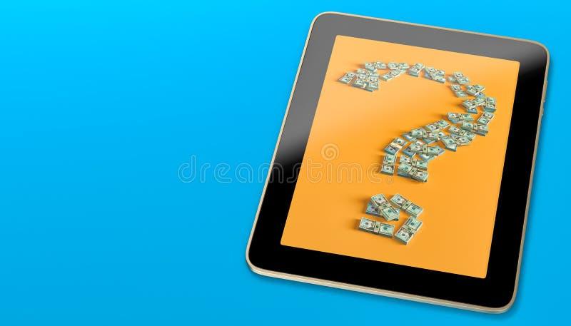 La Tablette générique montrant un point d'interrogation a fait des billets d'un dollar de fom illustration stock