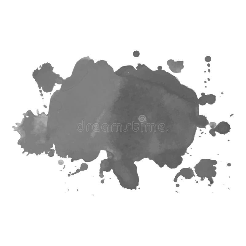 La tache grise d'aquarelle avec des gouttelettes, taches, souille, éclabousse Tache de gamme de gris dans le style grunge illustration libre de droits