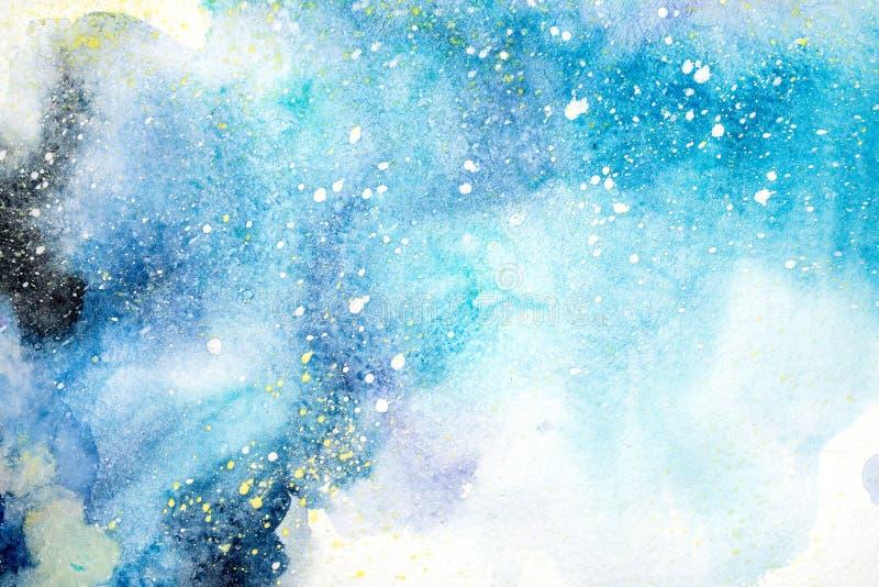 La tache rouge pourpre de rose bleu lumineux d'aquarelle s'égoutte des gouttes Illustration abstraite photo stock