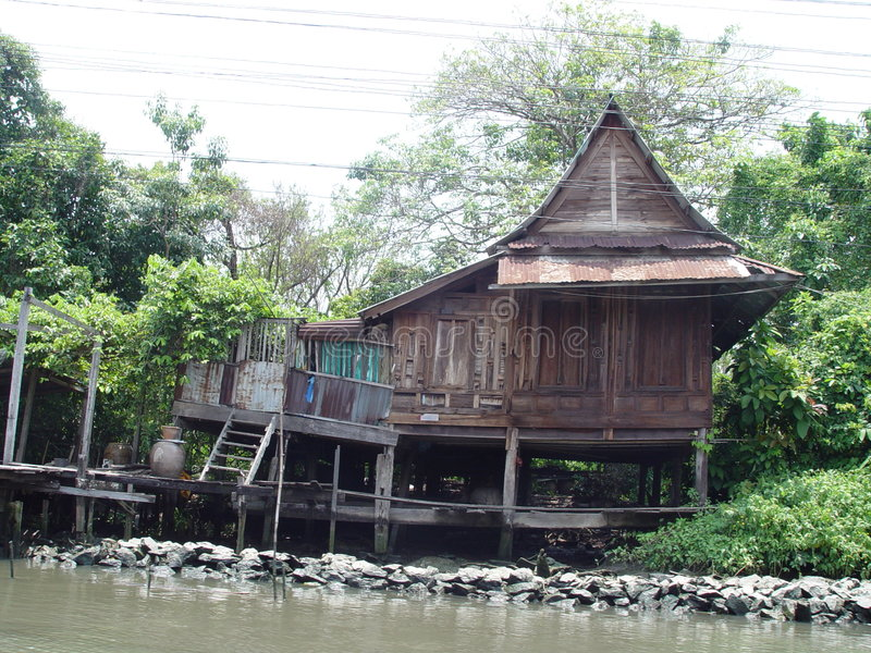 La Tailandia Bangkok - Camera del Klong-lato fotografia stock libera da diritti