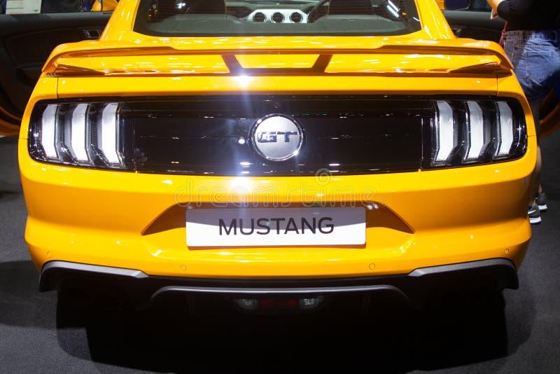 La Tailandia - dicembre 2018: Stile d'annata di nuova progettazione moderna dell'automobile della parte posteriore di Ford Mustan immagini stock libere da diritti