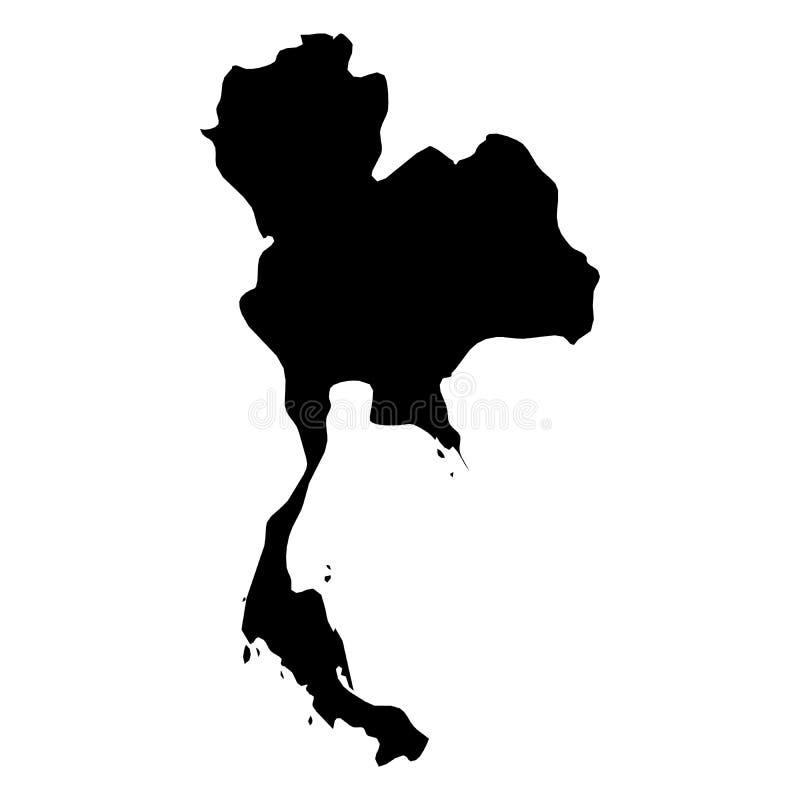 La Tailandia - mappa nera solida della siluetta di area del paese Illustrazione piana semplice di vettore royalty illustrazione gratis