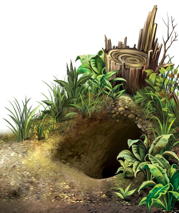 La tana del lupo. Tana nella foresta. royalty illustrazione gratis