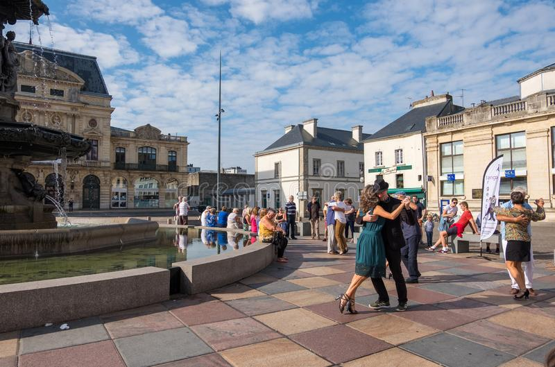 La tangomanie in Cherbourg-Octeville. Couples dancing tango on the Place du General de Gaulle in Cherbourg, France royalty free stock photo