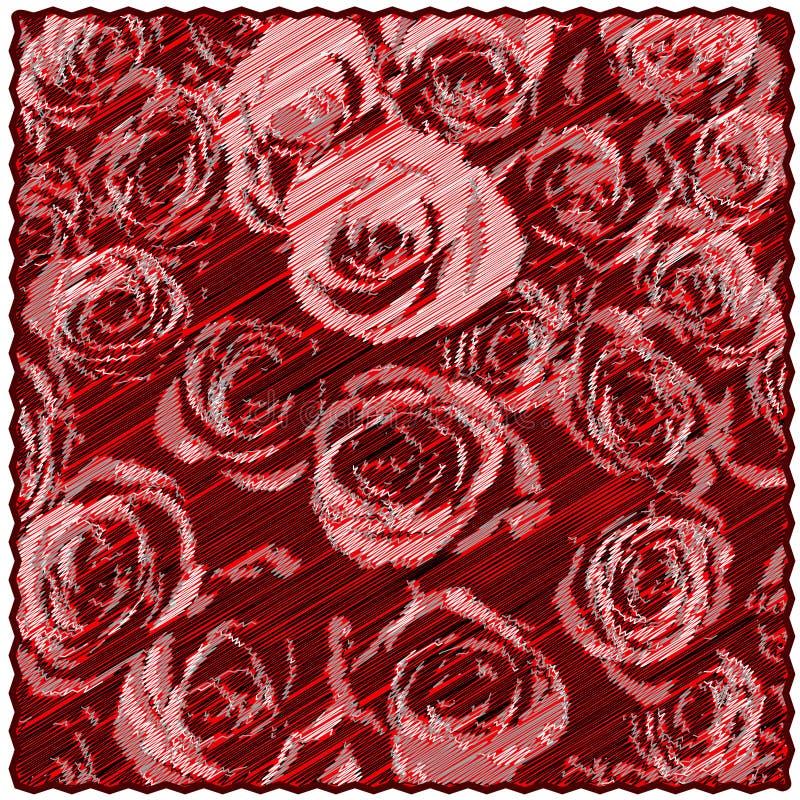 La tappezzeria quadrata con il modello floreale delle rose stilizzate sul lerciume diagonale ha barrato il contesto royalty illustrazione gratis