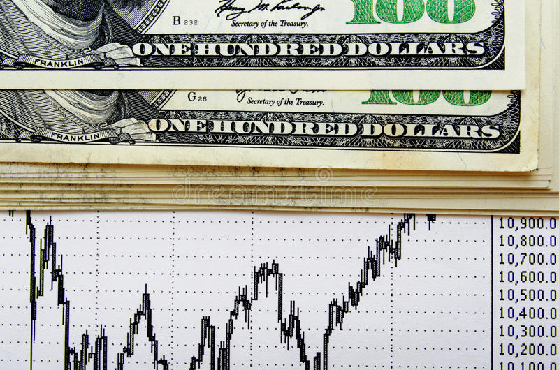 La tarifa de cambio del Dólar ha subido fotografía de archivo libre de regalías